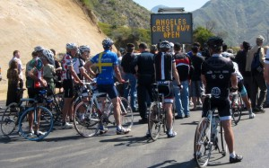 Cyclist and others gather for the ACH highway 2 opening ceremony and press release 