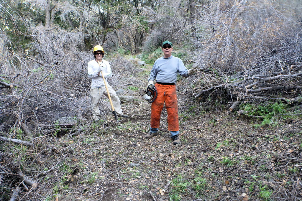 Gabrielino Trail, Mike and Steve after clearing trees