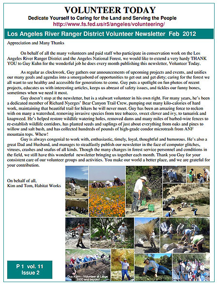 Feb 2012 Volunteer Newsletter