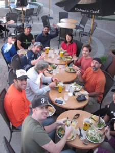 Volunteers enjoy lunch at the Urbane Cafe after the workday is finished