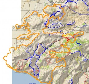 Outline of the Springs Fire burn area (orange), overlaid on a trail and topo map.