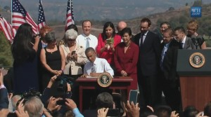 President Obama signs the proclamation of the San Gabriel Mountains National Monument