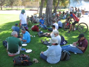 Enjoying the lunch prepared by the COSCA rangers after trailwork was finished
