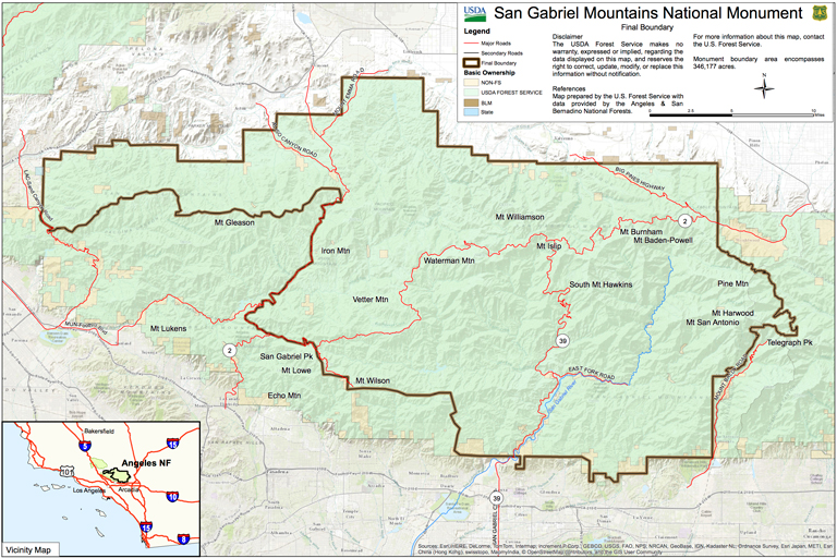 San Gabriel Mountains National Monument Map