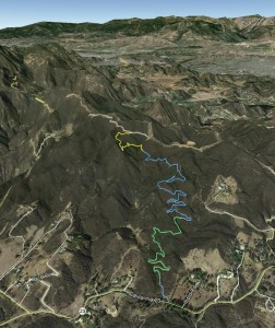 Google Earth view of our work area, looking north-west. The CORBA crew worked the bottom (green) and the Trails Council crew worked the top (yellow) of this 2.5-mile long segment of the Backbone Trail. Mulholland Hwy (23-S) is at the bottom of the image. The trail ends at Etz Meloy Motorway.
