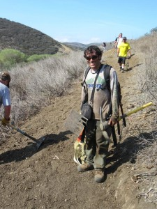 Steve Messer, president of CORBA, takes trailwork seriously!