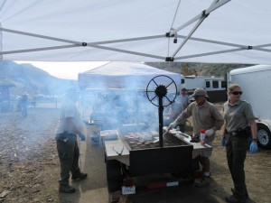 The COSCA rangers are cooking up a smokin' barbecue lunch for the volunteers!