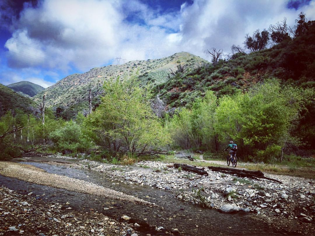 Riding the Arroyo Wash along the Gabrielino Trail
