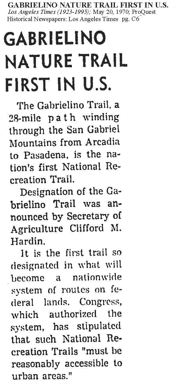Gabrielino Trail was the First National Recreation Trail in the nation